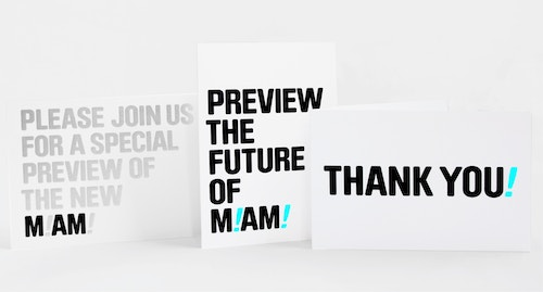 A set of invitation flyers designed for the Miami Art Museum