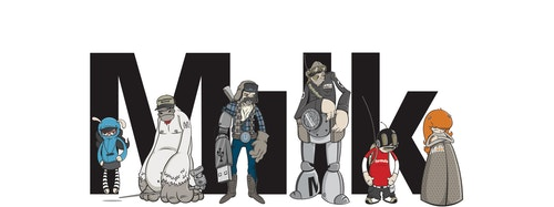Illustration of characters representing the Milk family in front of the logo