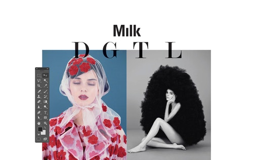 A visual for Milk Digital using key elements of Photoshop's workspace