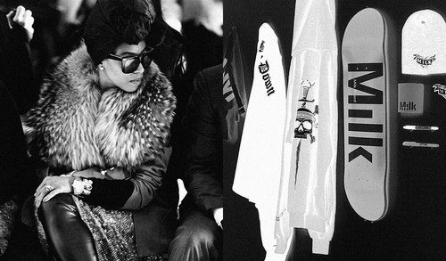 A collage with a photo of a woman wearing a fur coat and sunglasses, and another showing a set of clothing accessories branded by Milk