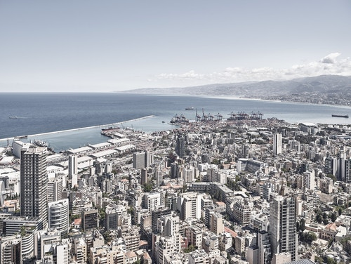 Top view of the city of Lebanon