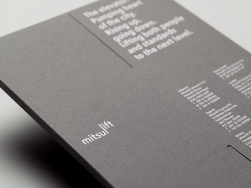 Close-up view of the booklet designed for Mitsulift