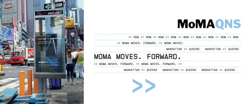 A collage of photos with a poster designed for Moma Queens in an advertising screen on the streets, and a visual of call-to-action for the exhibitions