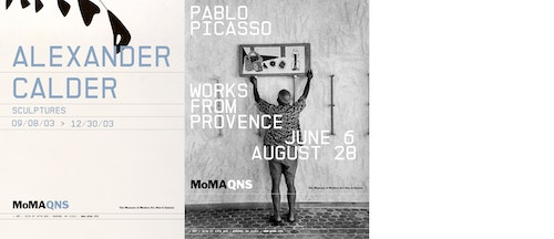 A collage of different posters promoting exhibitions designed for Moma Queens