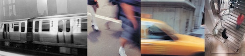 A photo collage of different daily lives scenes in New York with blurry effects