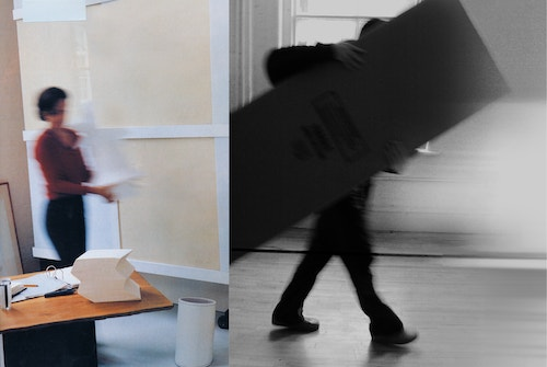 Two photos of people moving objects from a room to another with a blurry effect
