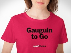 """A red t-shirt quoting """"Gauguin to go"""" designed for the Moma store"""