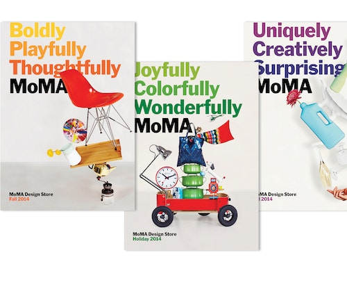 A set of catalogues designed for the Moma store