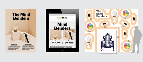 Different visuals designed to promote The Mind Benders on the Moma store