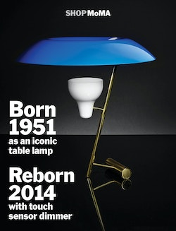 A poster promoting the famous lamp of the Moma shop