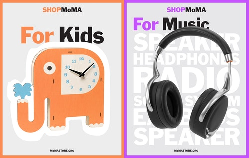 A poster promoting the different categories of products of the Moma Store