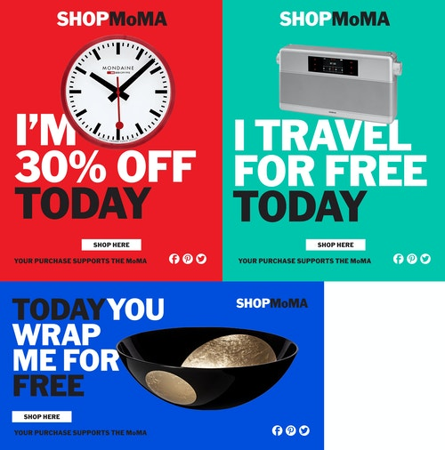 Set of posters promoting discounts on products in the Moma Store