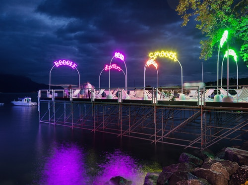 The main bridge of Montreux Jazz Festival decorated with neons