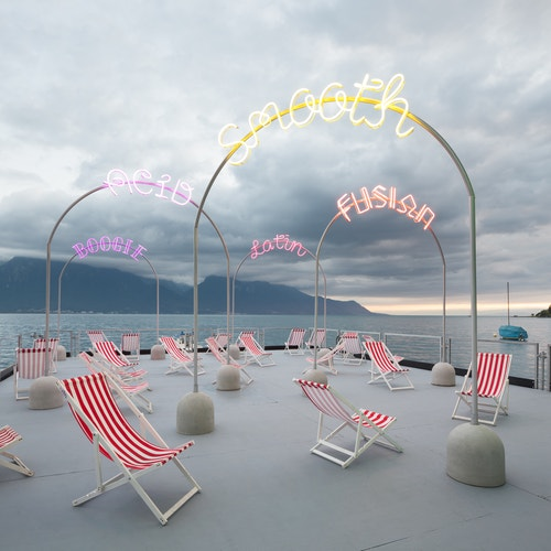 A set of neons on a boat designed for the Montreux Jazz Festival