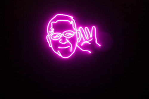A neon light designed for Montreux Jazz Festival representing a man's face