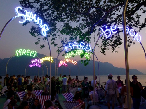 Set of neon lights outside designed for the Montreux Jazz Festival