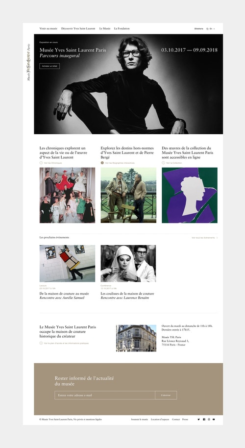 Homepage of the website designed for the Musee Yves Saint-Laurent
