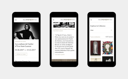 Pages of the website developed for the Musee Yves Saint-Laurent displayed on mobile