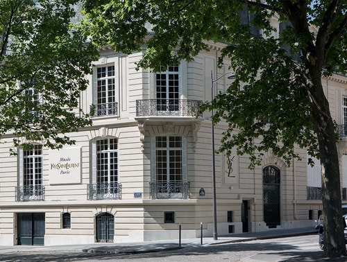 Exterior of the building of the Musee Yves Saint-Laurent