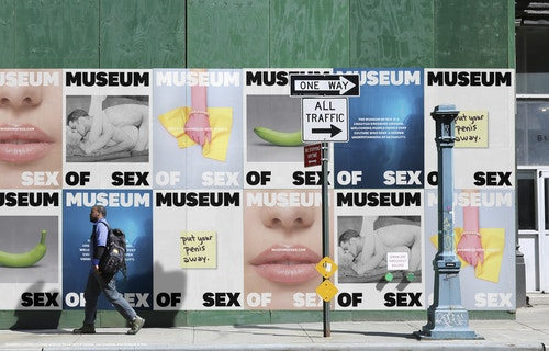 Several posters designed for the Museum of Sex communication campaign stuck in the streets of New York