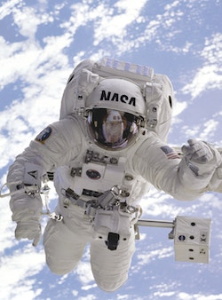 A simulation of the Nasa logotype on an astronaut