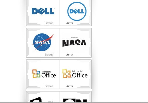 A comparison of Nasa logotype before and after
