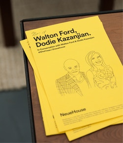 A pile of flyers designed for the talk with guests Walton Ford and Dodie Kazanjian at Neuehouse