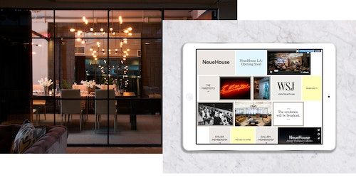 Application of the website developed for Neuehouse on a tablet