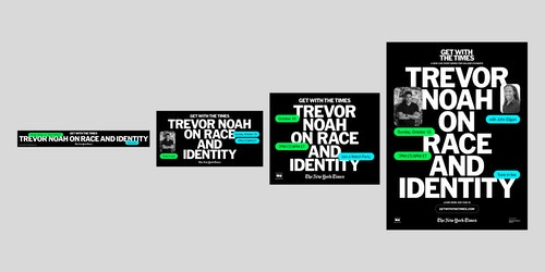 Different sizes of the visual for the communication of the New York Times' event with Trevor Noah