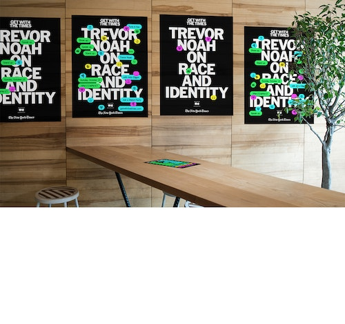 Application of the posters of the event with Trevor Noah in a waiting room