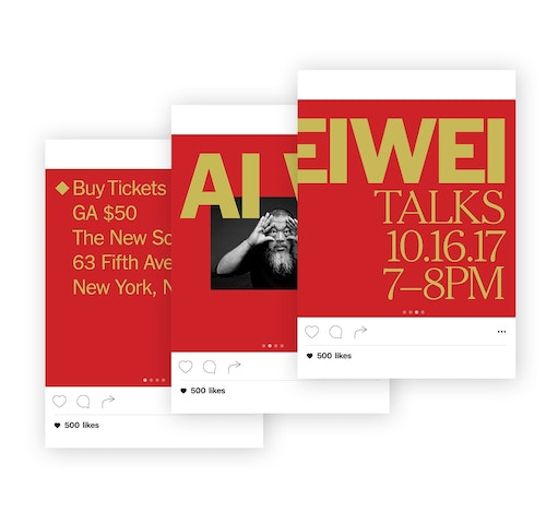 Simulation of Instagram posts with different visuals designed for the Aieiwei talk with the New York Times