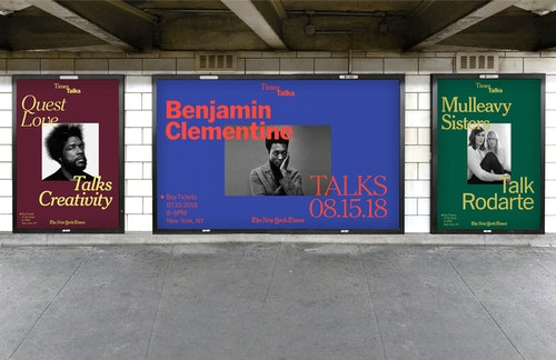 Application of three posters designed for the New York Times Talks, featuring Quest Love, Benjamin Clementine and Mulleavy Sisters at a metro stop