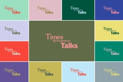 Colourful patchwork of bicoloured posters designed for the New York Times Talks
