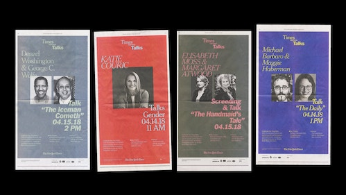 Four different bicoloured posters designed for the communication of different events with the New York Times Talks
