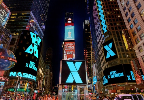 NYC x Design logotype displayed on billboards in Times Square