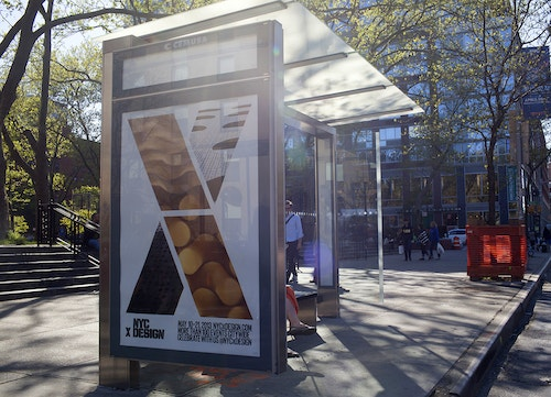 Application of a poster designed for NYC x Design on a bus stop