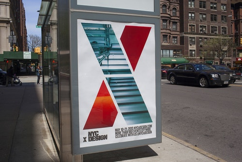 Other view of a poster designed for NYC x Design on a bus stop