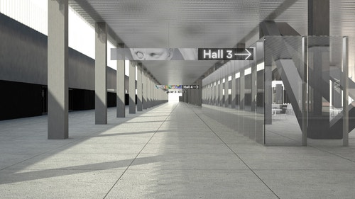 A simulation of a direction sign designed with OMA in Parc des Expositions leading to the Hall 3 in a hallway