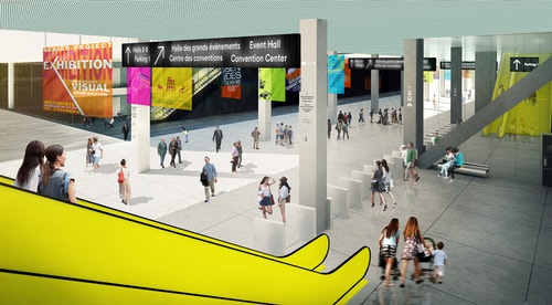 Simulation of different signages in the middle of Parc des Expositions