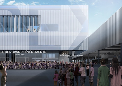 Simulation of the exterior signages Parc des Expositions with the signages designed with OMA