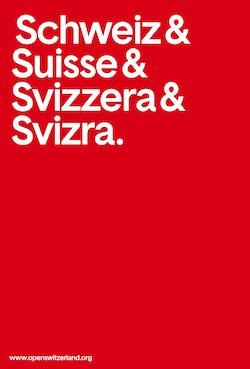The core visual identity designed for Open Switzerland