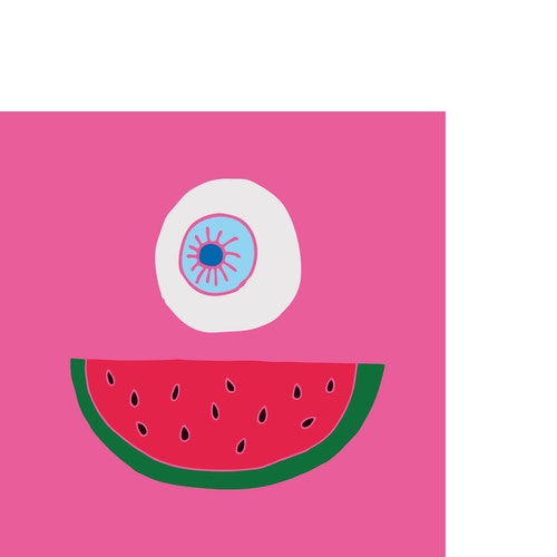 Illustration of a water melon and an eye