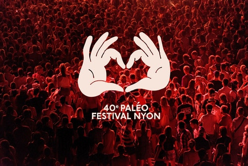 Poster for the Paleo Festival with a drawing of a hand forming a heart