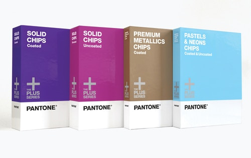 Row of Pantone cardboard boxes of different colors
