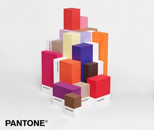 Poster representing a pile of coloured blocks from Pantone