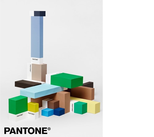 A poster representing a pile of coloured blocks by Pantone