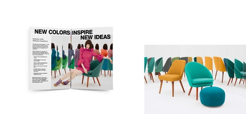 Patchwork of works for Pantone Fashion's branding, with a opened magazine and the set of a shooting