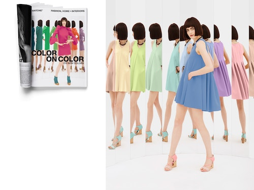 Patchwork of works for Pantone Fashion's branding, with a opened magazine and the photo of a model pausing with different coloured dresses