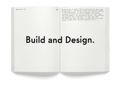 "A opened book with the quote ""Build and Design"""