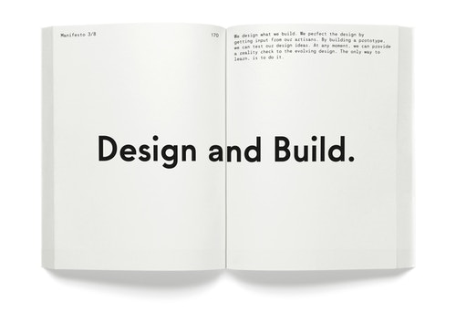 "A opened book with the quote ""Design and build"""